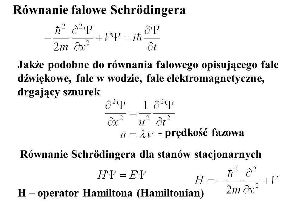 Równanie falowe Schrödingera - prędkość fazowa Jakże podobne do równania falowego opisującego fale dźwiękowe, fale w wodzie, fale elektromagnetyczne,