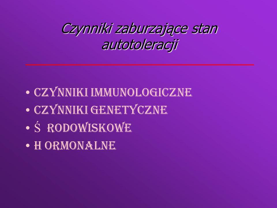 Czynniki immunologiczne Zaburzenia delecji klonalnejZaburzenia delecji klonalnej Czynniki zależ ne od autoantygenuCzynniki zależ ne od autoantygenu Czynniki zależ ne od limfocytów TCzynniki zależ ne od limfocytów T Czynniki zależ ne od limfocytów BCzynniki zależ ne od limfocytów B Zaburzenia regulacji antyidiotypowejZaburzenia regulacji antyidiotypowej