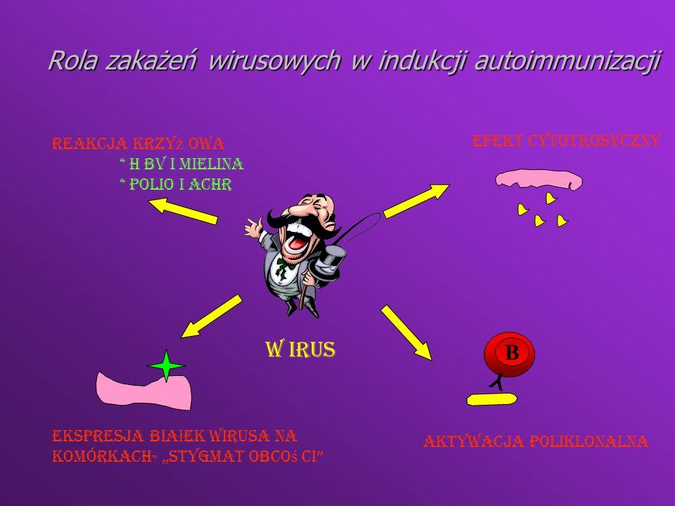 Czynniki hormonalne Większa częstość występowania chorób autoimmunologicznych u kobietWiększa częstość występowania chorób autoimmunologicznych u kobiet Podwyższony poziom estrogenów u kobiet z chorobami autoimmunologicznymiPodwyższony poziom estrogenów u kobiet z chorobami autoimmunologicznymi Estrogeny zwiększają syntezę IFNγ - wzrost ekspresji MHC kl IIEstrogeny zwiększają syntezę IFNγ - wzrost ekspresji MHC kl II