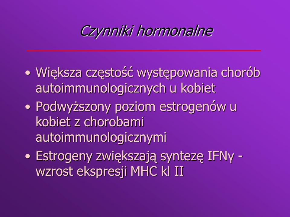 Podział chorób autoimmunologicznych Ze względu na występowanie autoantygenu * narządowo swoiste * układowe Ze względu na patomechanizm *zależne od limf CD4+ *zależne od kompleksów immunologicznych *zależne od przeciwciał