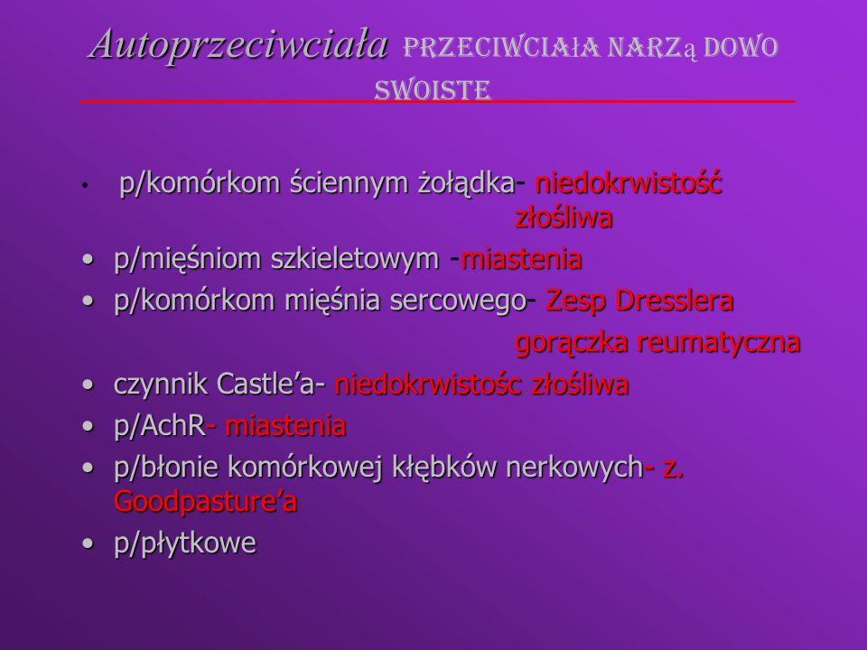 Podział ze względu na patomechanizm Choroby zale ż ne od autoreaktywnych limfocytów T CD4+Choroby zale ż ne od autoreaktywnych limfocytów T CD4+ cukrzyca typu I, choroba Hashimoto, SM cukrzyca typu I, choroba Hashimoto, SM Choroby zale ż ne od autoprzeciwcia łChoroby zale ż ne od autoprzeciwcia ł ch.
