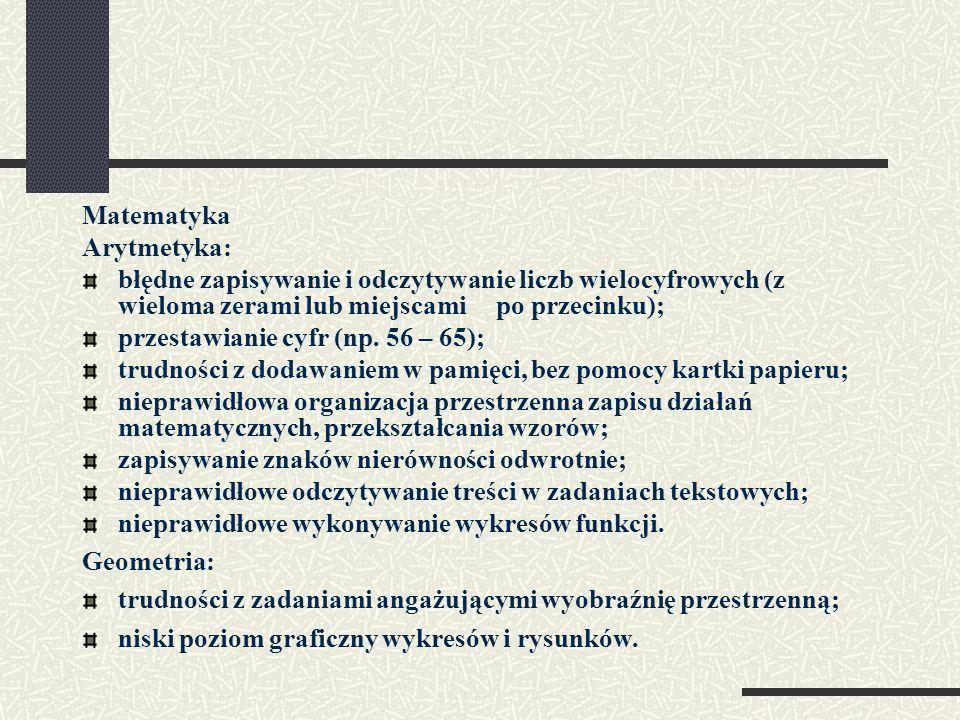 Matematyka Arytmetyka: błędne zapisywanie i odczytywanie liczb wielocyfrowych (z wieloma zerami lub miejscami po przecinku); przestawianie cyfr (np. 5