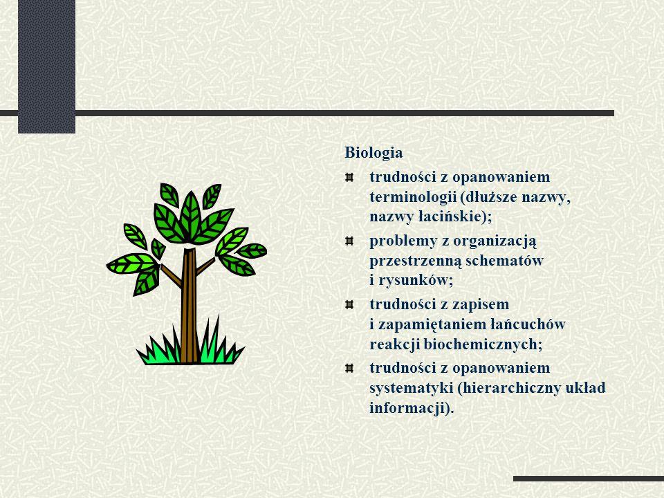 Biologia trudności z opanowaniem terminologii (dłuższe nazwy, nazwy łacińskie); problemy z organizacją przestrzenną schematów i rysunków; trudności z