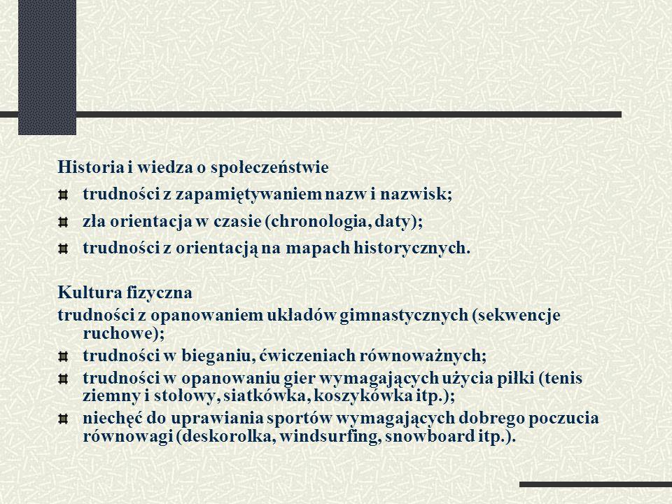 Historia i wiedza o społeczeństwie trudności z zapamiętywaniem nazw i nazwisk; zła orientacja w czasie (chronologia, daty); trudności z orientacją na