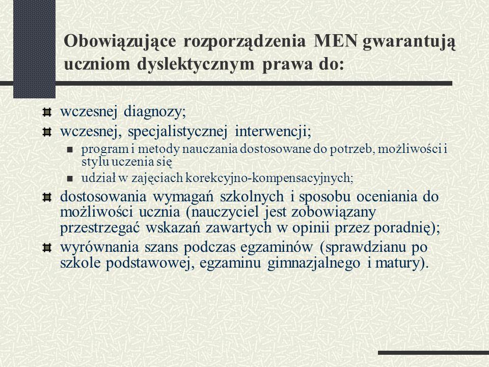Obowiązujące rozporządzenia MEN gwarantują uczniom dyslektycznym prawa do: wczesnej diagnozy; wczesnej, specjalistycznej interwencji; program i metody