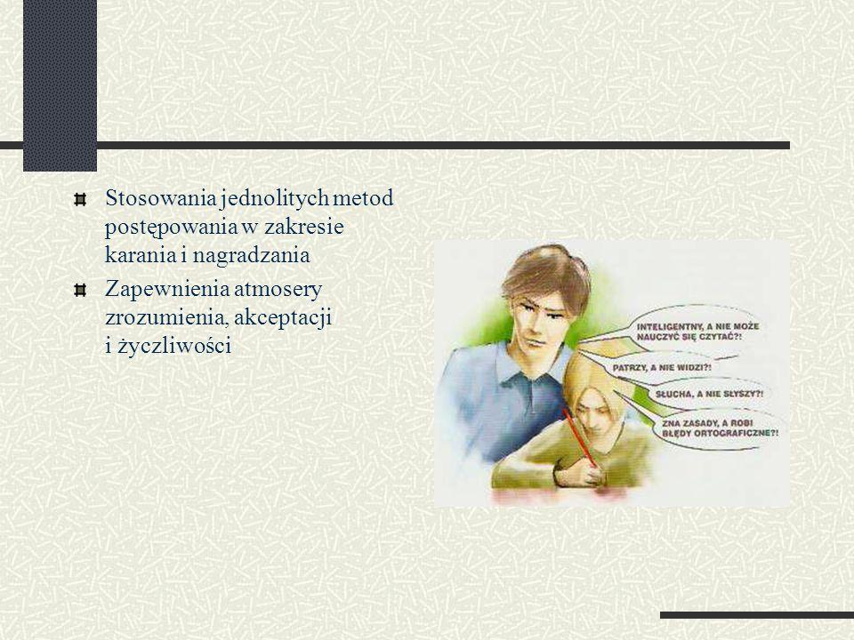 Stosowania jednolitych metod postępowania w zakresie karania i nagradzania Zapewnienia atmosery zrozumienia, akceptacji i życzliwości