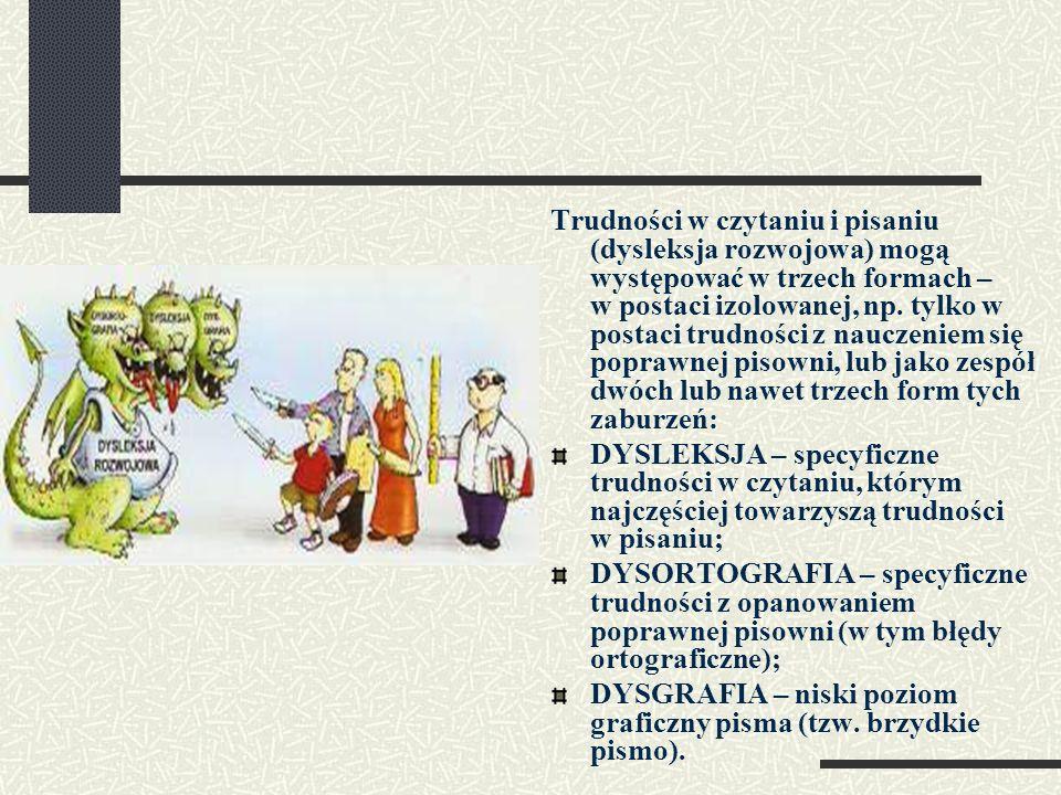 Trudności w czytaniu i pisaniu (dysleksja rozwojowa) mogą występować w trzech formach – w postaci izolowanej, np. tylko w postaci trudności z nauczeni