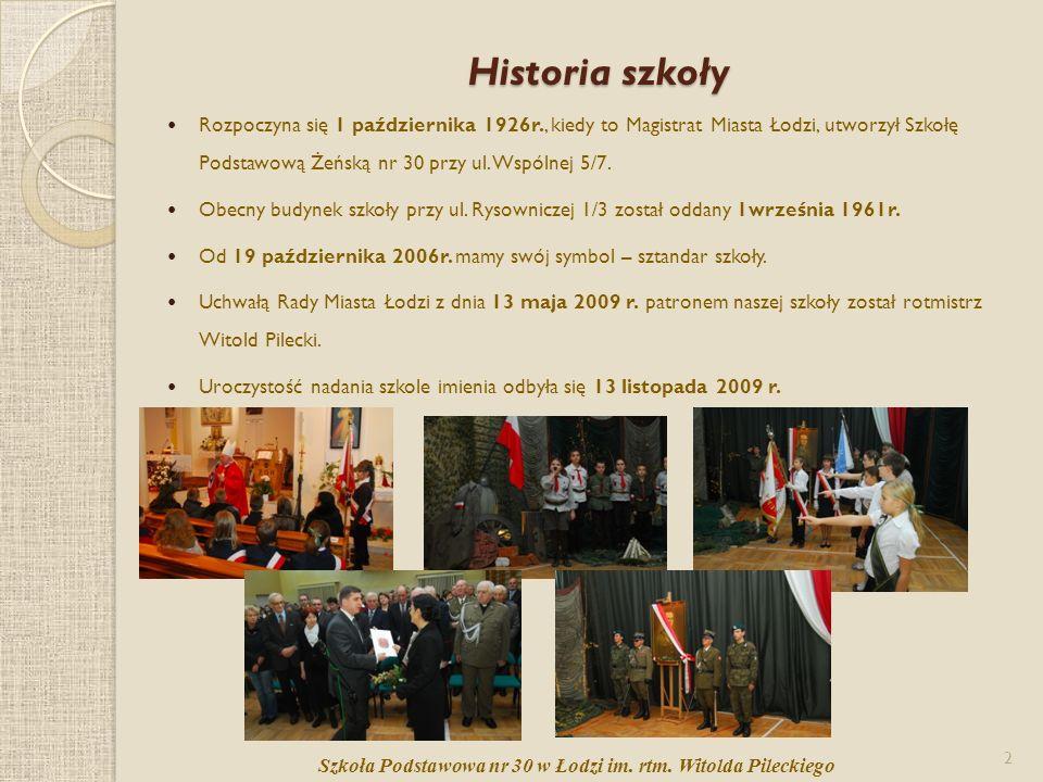 Historia szkoły Rozpoczyna się 1 października 1926r., kiedy to Magistrat Miasta Łodzi, utworzył Szkołę Podstawową Żeńską nr 30 przy ul. Wspólnej 5/7.