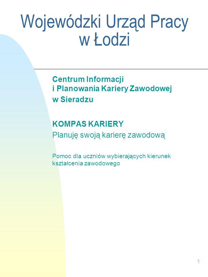 1 Wojewódzki Urząd Pracy w Łodzi Centrum Informacji i Planowania Kariery Zawodowej w Sieradzu KOMPAS KARIERY Planuję swoją karierę zawodową Pomoc dla