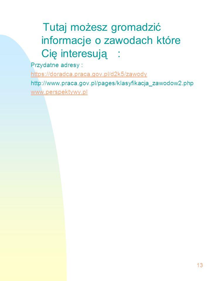 13 Tutaj możesz gromadzić informacje o zawodach które Cię interesują : Przydatne adresy : https://doradca.praca.gov.pl/d2k5/zawody http://www.praca.go