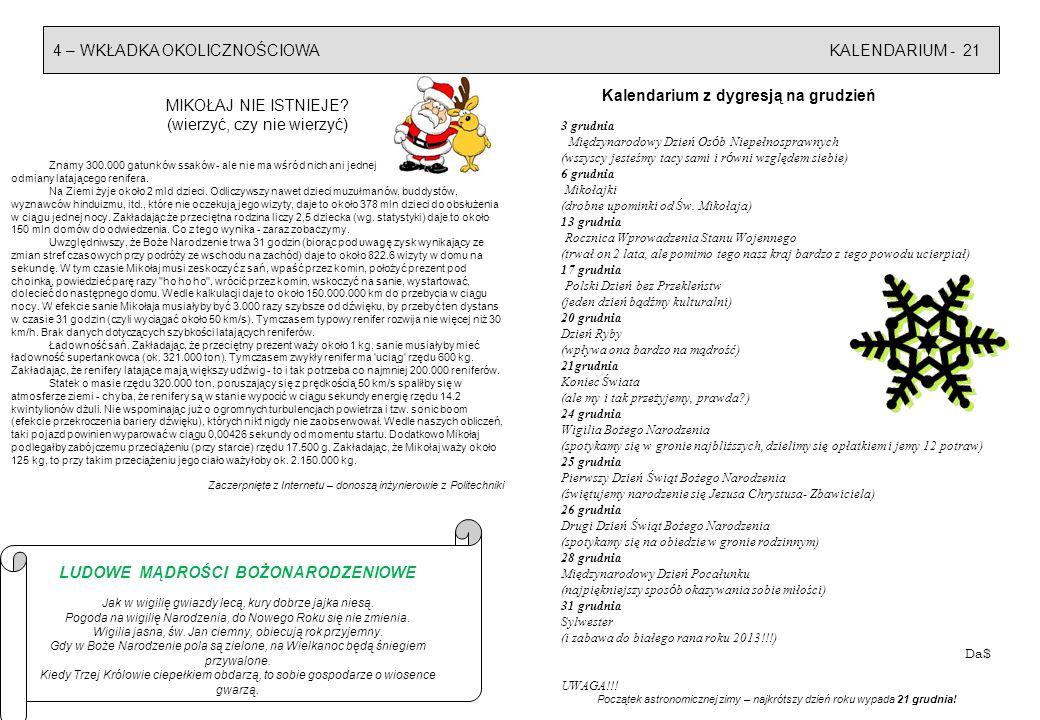 4 – WKŁADKA OKOLICZNOŚCIOWAKALENDARIUM - 21 Kalendarium z dygresją na grudzień 3 grudnia Międzynarodowy Dzień Os ó b Niepełnosprawnych (wszyscy jesteśmy tacy sami i r ó wni względem siebie) 6 grudnia Mikołajki (drobne upominki od Św.