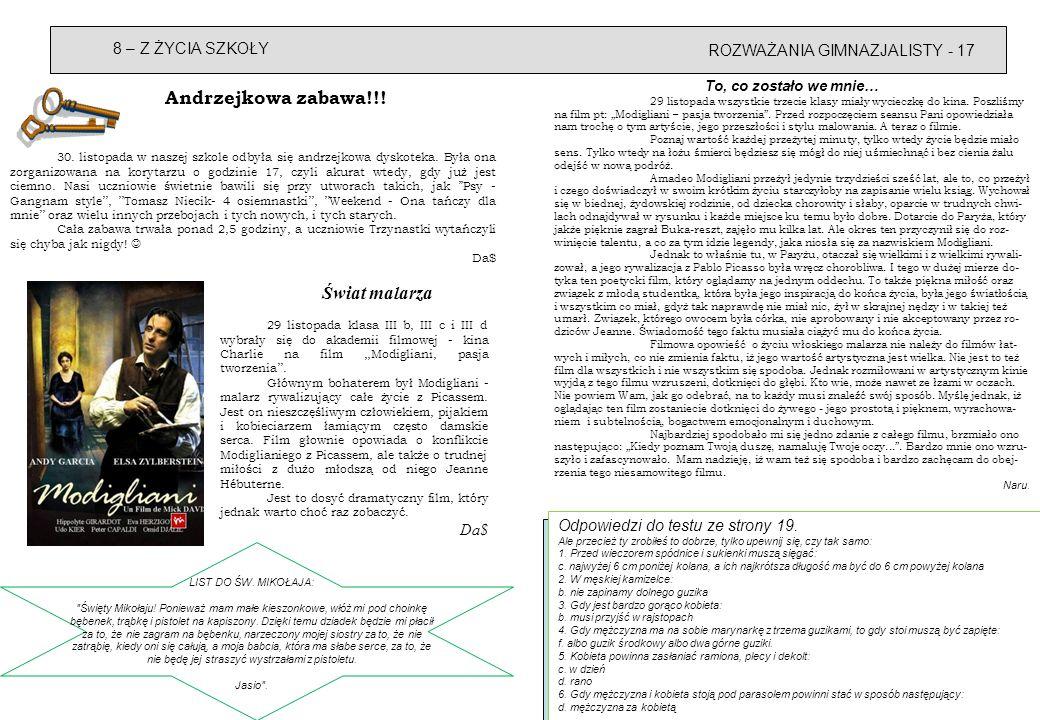 ROZWAŻANIA GIMNAZJALISTY - 17 8 – Z ŻYCIA SZKOŁY Odpowiedzi do testu ze strony 19.
