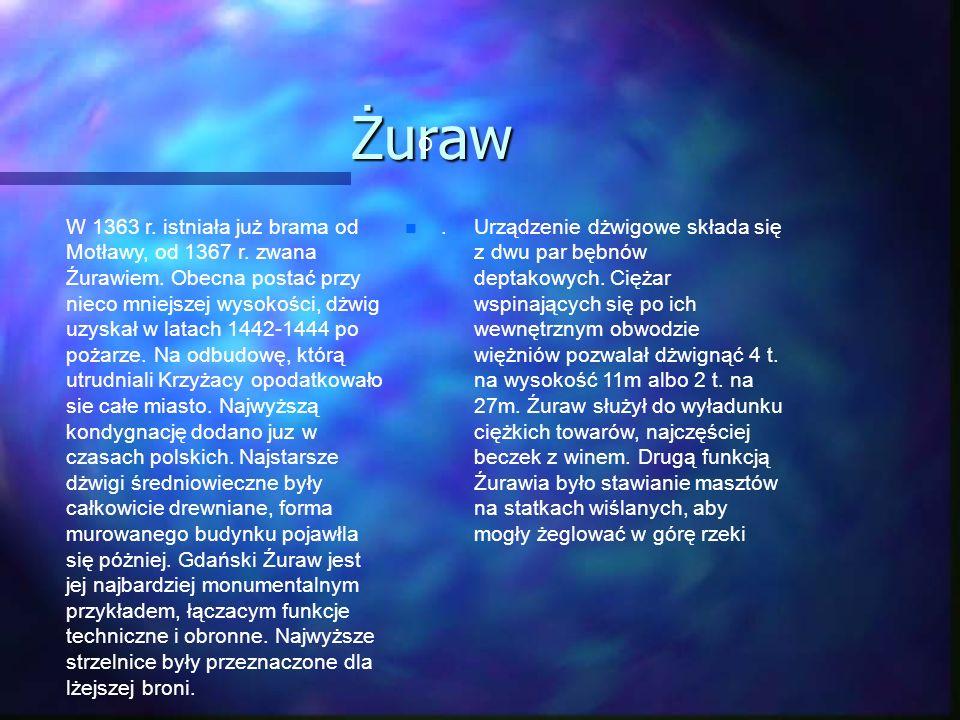 Żuraw. O W 1363 r. istniała już brama od Motławy, od 1367 r. zwana Źurawiem. Obecna postać przy nieco mniejszej wysokości, dżwig uzyskał w latach 1442