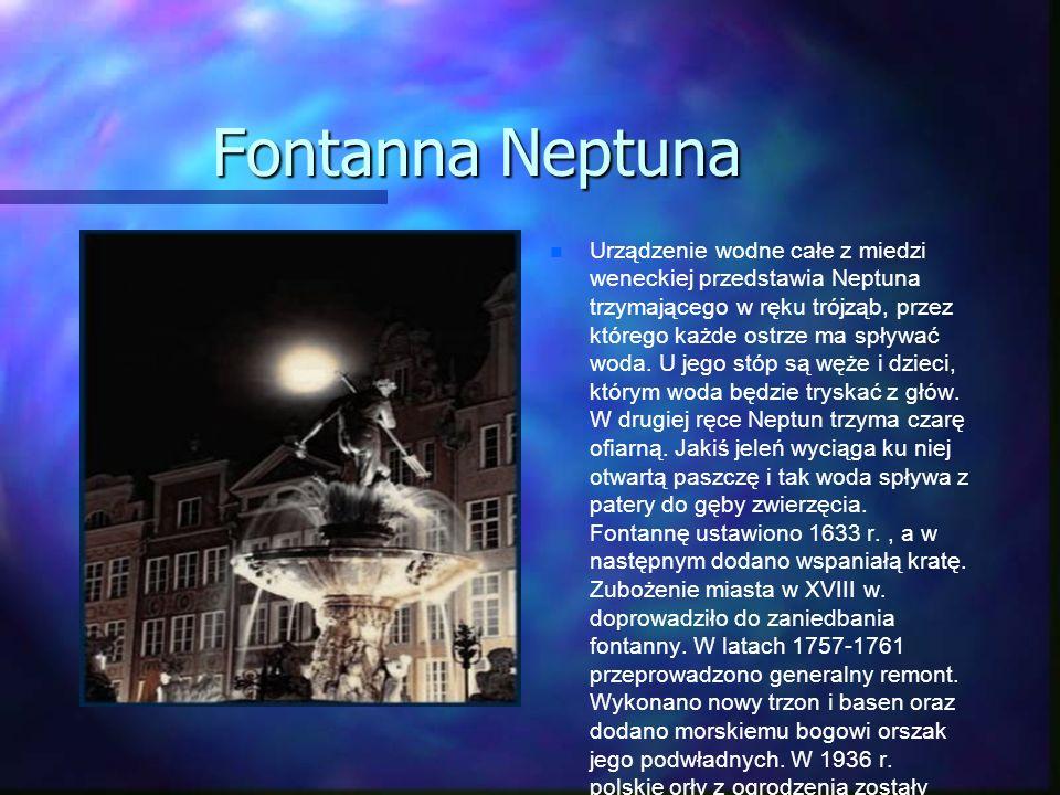 Fontanna Neptuna Urządzenie wodne całe z miedzi weneckiej przedstawia Neptuna trzymającego w ręku trójząb, przez którego każde ostrze ma spływać woda.