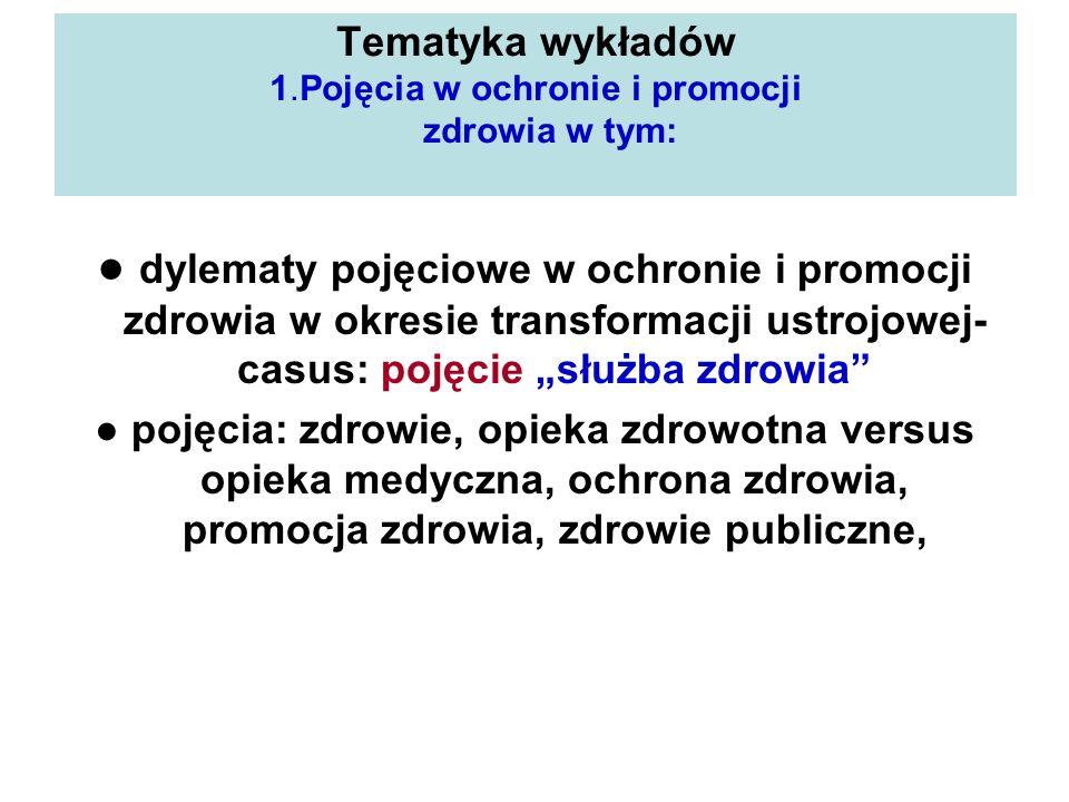 Tematyka wykładów 1.Pojęcia w ochronie i promocji zdrowia w tym: dylematy pojęciowe w ochronie i promocji zdrowia w okresie transformacji ustrojowej-