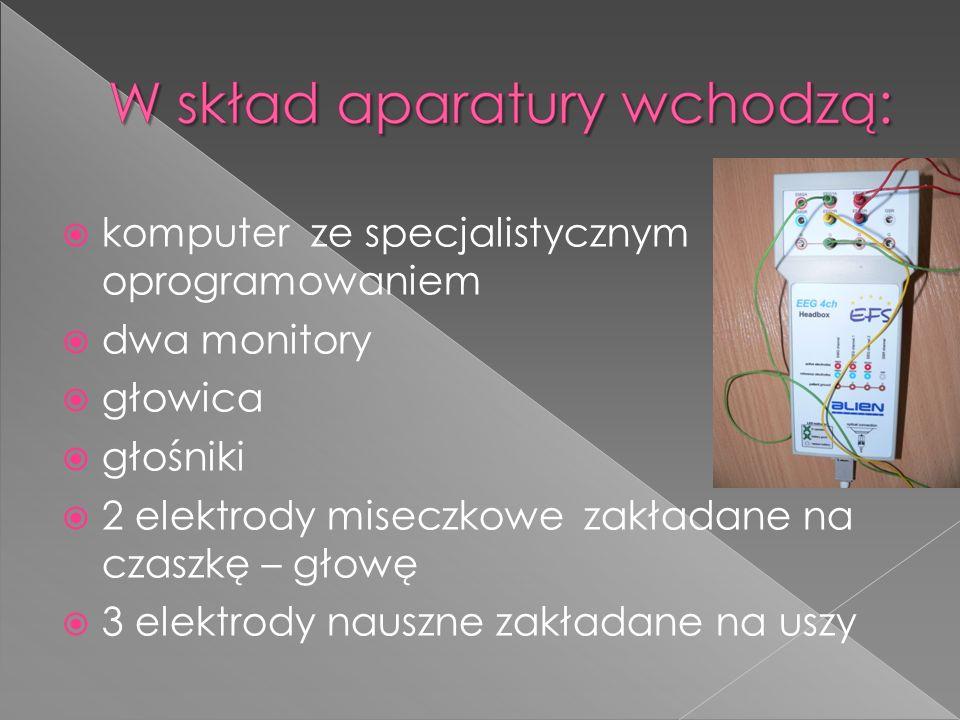 komputer ze specjalistycznym oprogramowaniem dwa monitory głowica głośniki 2 elektrody miseczkowe zakładane na czaszkę – głowę 3 elektrody nauszne zak