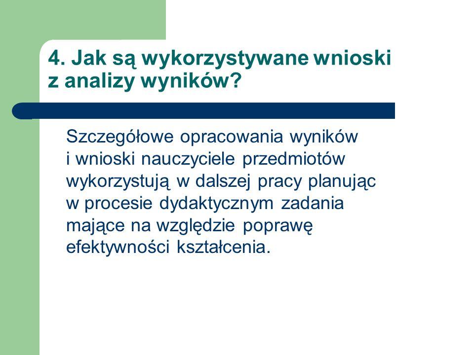 4. Jak są wykorzystywane wnioski z analizy wyników.
