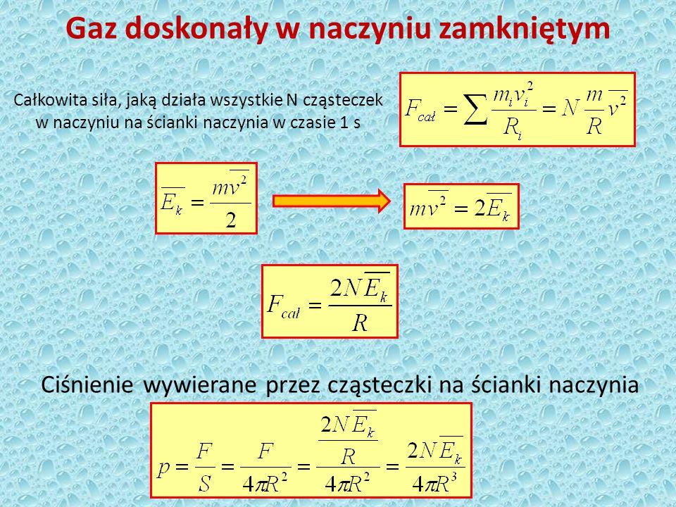 Ciśnienie gazu doskonałego w naczyniu zamkniętym Objętość kuli Podstawowy wzór teorii kinetyczno-molekularnej