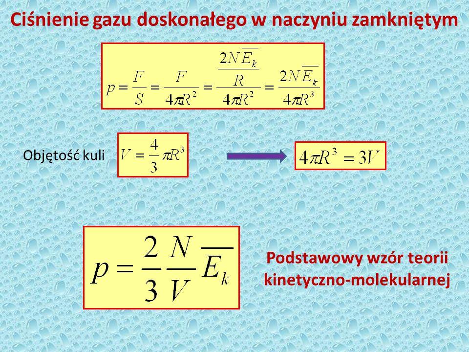 Równanie stanu gazu doskonałego Temperatura bezwzględna – miara średniej energii kinetycznej Równanie stanu gazu