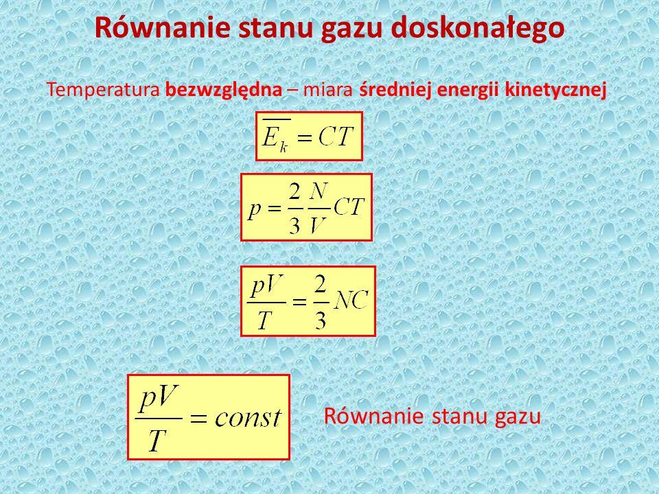 Równanie stanu gazu doskonałego - Clapeyrona R – uniwersalna stała gazowa K – stała Boltzmana