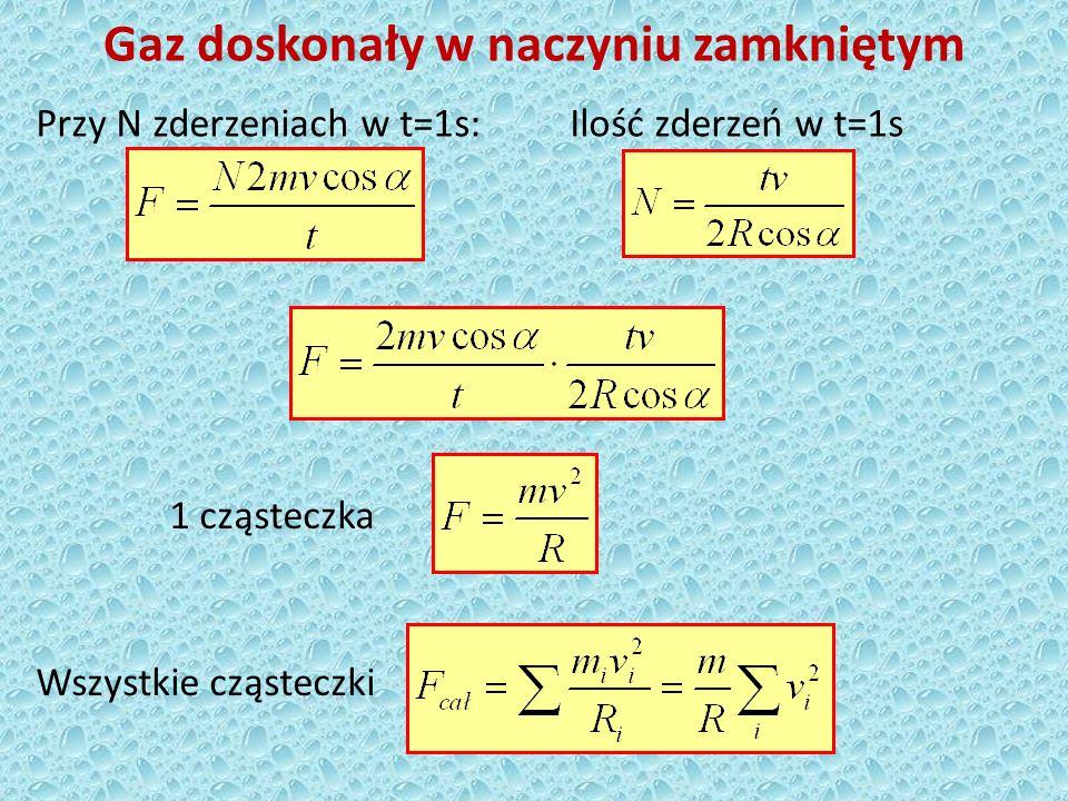 Gaz doskonały w naczyniu zamkniętym Średni kwadrat prędkości (N – liczba cząsteczek w naczyniu)