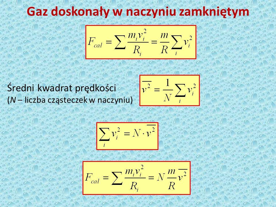Gaz doskonały w naczyniu zamkniętym Całkowita siła, jaką działa wszystkie N cząsteczek w naczyniu na ścianki naczynia w czasie 1 s Ciśnienie wywierane przez cząsteczki na ścianki naczynia
