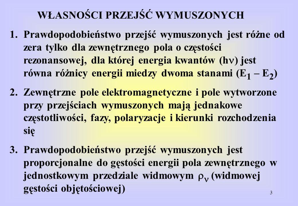 3 WŁASNOŚCI PRZEJŚĆ WYMUSZONYCH 1.Prawdopodobieństwo przejść wymuszonych jest różne od zera tylko dla zewnętrznego pola o częstości rezonansowej, dla której energia kwantów (h ) jest równa różnicy energii miedzy dwoma stanami (E 1 – E 2 ) 2.Zewnętrzne pole elektromagnetyczne i pole wytworzone przy przejściach wymuszonych mają jednakowe częstotliwości, fazy, polaryzacje i kierunki rozchodzenia się 3.Prawdopodobieństwo przejść wymuszonych jest proporcjonalne do gęstości energii pola zewnętrznego w jednostkowym przedziale widmowym (widmowej gęstości objętościowej)