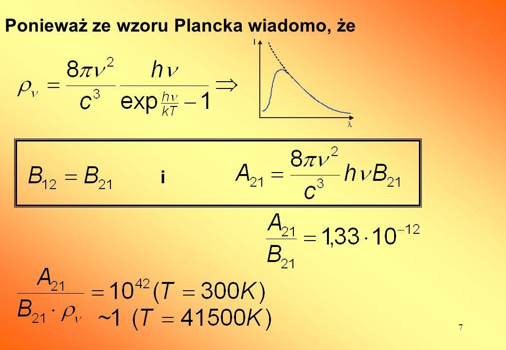 8 W układzie dwupoziomowym nie można doprowadzić do inwersji osadzeń!!! (górna granica N 1 = N 2 )