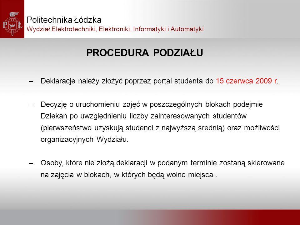 PROCEDURA PODZIAŁU Politechnika Łódzka Wydział Elektrotechniki, Elektroniki, Informatyki i Automatyki –Deklaracje należy złożyć poprzez portal student