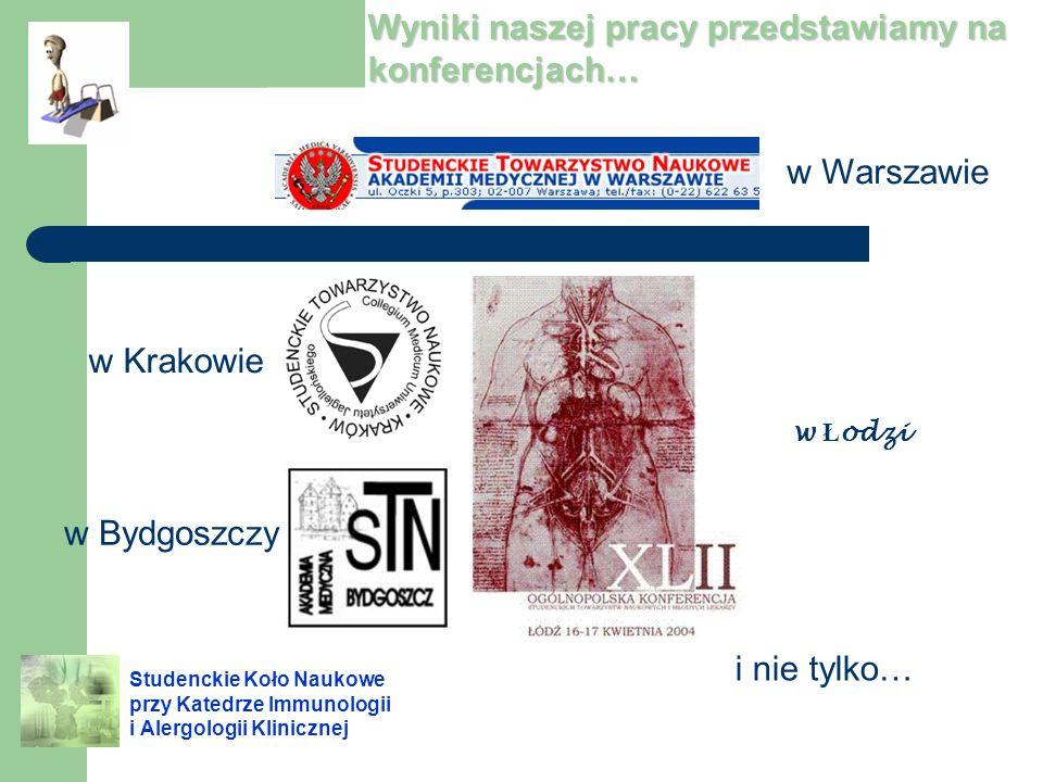 Wyniki naszej pracy przedstawiamy na konferencjach… w Warszawie w Ł odzi w Krakowie w Bydgoszczy i nie tylko…