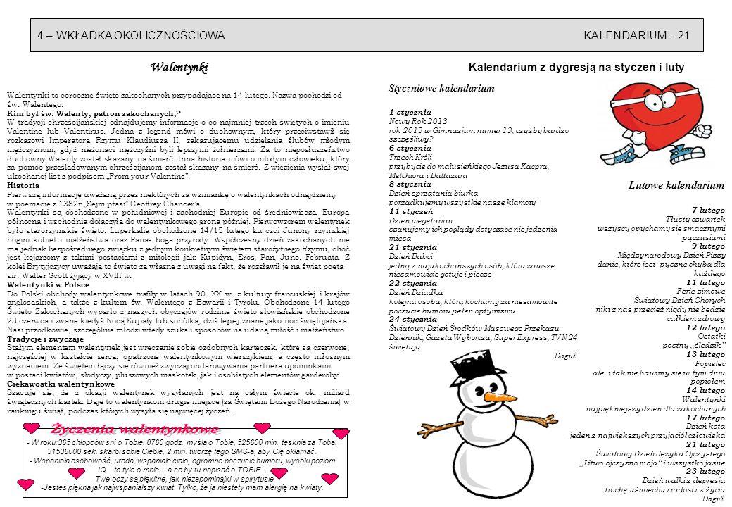 4 – WKŁADKA OKOLICZNOŚCIOWAKALENDARIUM - 21 Kalendarium z dygresją na styczeń i luty Styczniowe kalendarium 1 stycznia Nowy Rok 2013 rok 2013 w Gimnazjum numer 13, czyżby bardzo szczęśliwy.