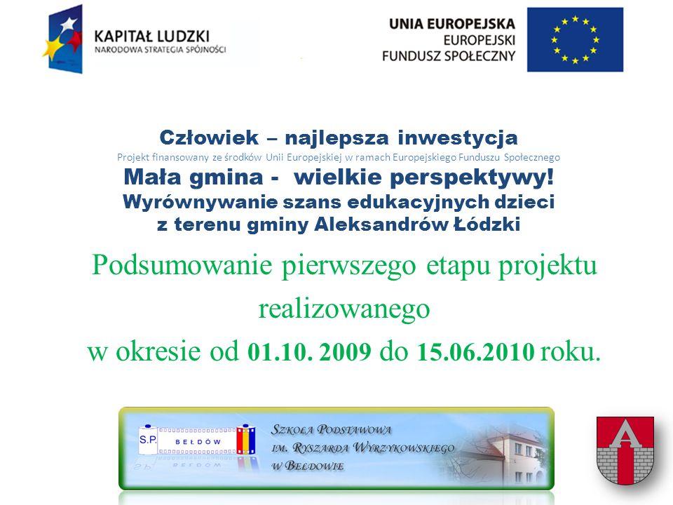 Człowiek – najlepsza inwestycja Projekt finansowany ze środków Unii Europejskiej w ramach Europejskiego Funduszu Społecznego Mała gmina - wielkie perspektywy.