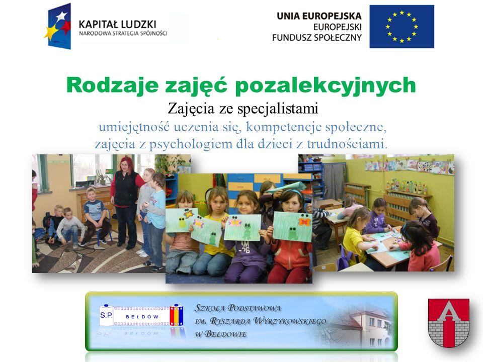 Rodzaje zajęć pozalekcyjnych Zajęcia ze specjalistami umiejętność uczenia się, kompetencje społeczne, zajęcia z psychologiem dla dzieci z trudnościami.