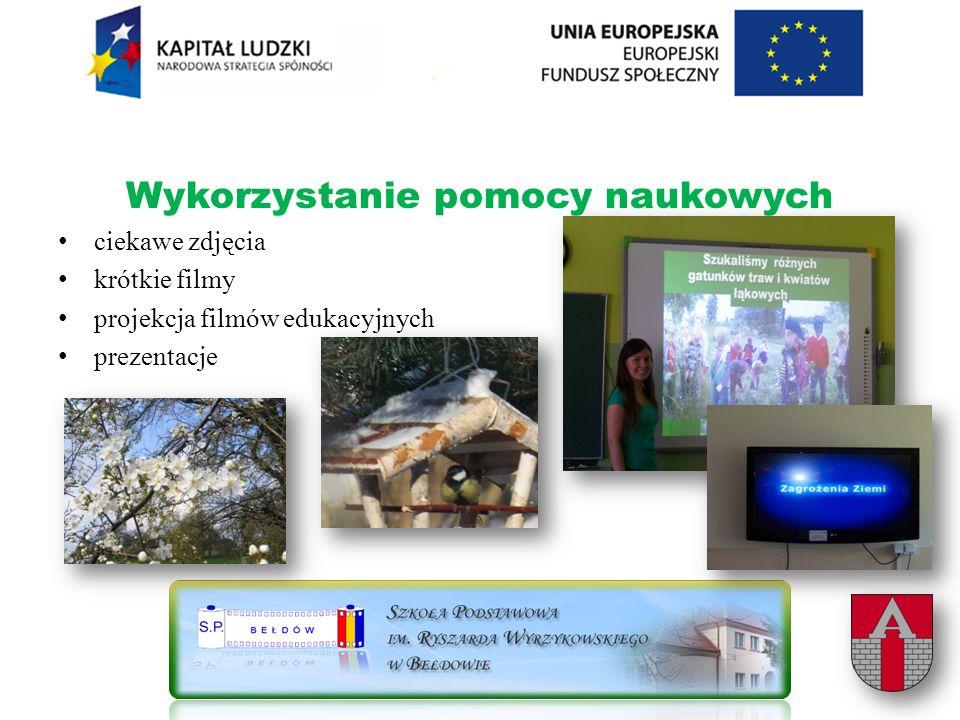 Wykorzystanie pomocy naukowych ciekawe zdjęcia krótkie filmy projekcja filmów edukacyjnych prezentacje