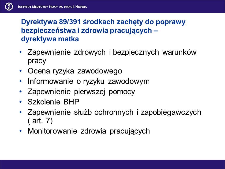 Dyrektywy Unii Europejskiej w zakresie zdrowia i bezpieczeństwa w pracy Dotyczące zdrowia i bezpieczeństwa pracujących: 89/391 i 21 dyrektywy pochodne