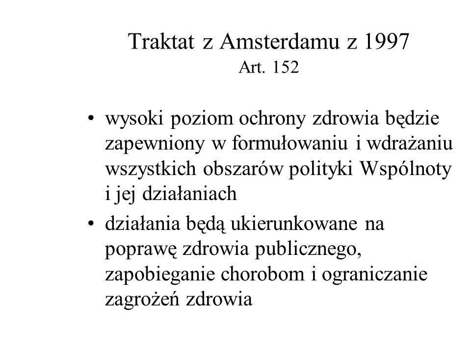 Traktat Rzymski z 1957 roku, art. 3 Powołujący Europejską Wspólnotę Gospodarczą Osiągniecie wysokiego poziomu zdrowia poprzez podnoszenie standardów ż