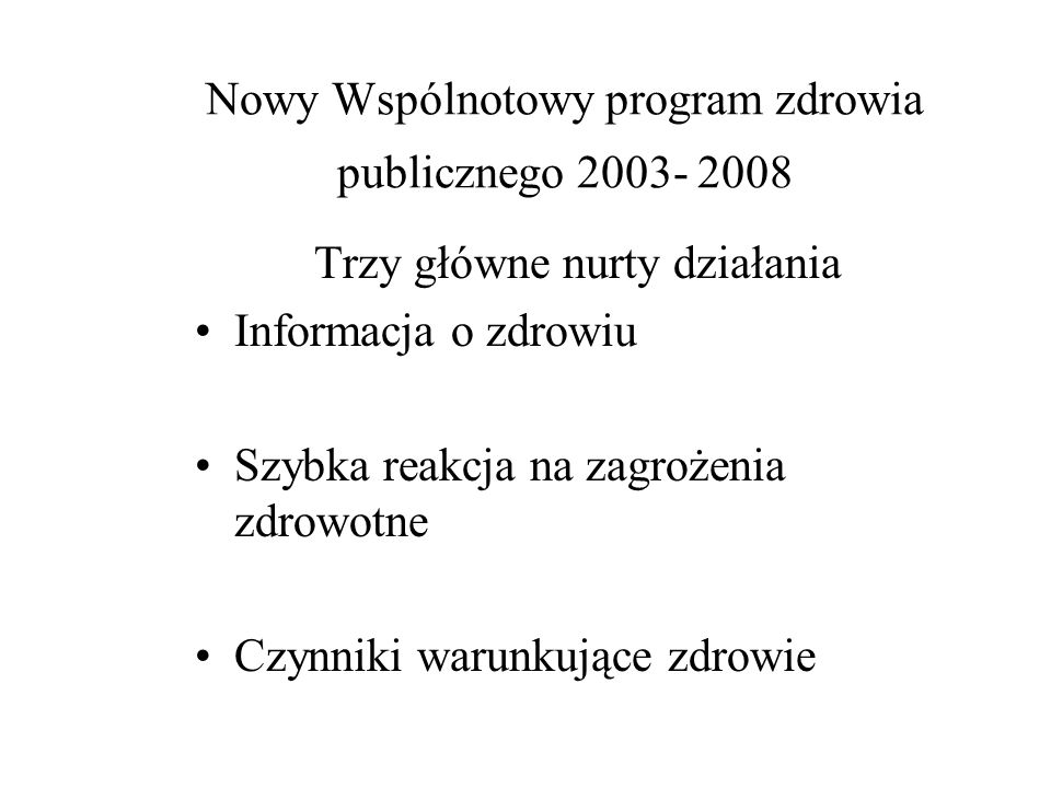 Polityka i dyrektywy kształtowane są w oparciu następujące artykuły Traktatu o utworzeniu UE ( Amsterdam 1997) Artykuł 152 : poprawa zdrowia publiczne