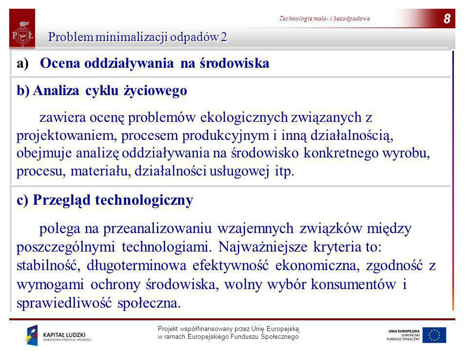 Projekt współfinansowany przez Unię Europejską w ramach Europejskiego Funduszu Społecznego 8 Technologie mało- i bezodpadowe 8 Problem minimalizacji o
