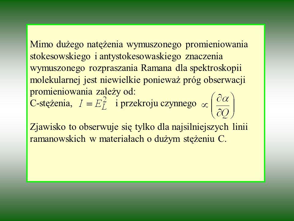 Mimo dużego natężenia wymuszonego promieniowania stokesowskiego i antystokesowaskiego znaczenia wymuszonego rozpraszania Ramana dla spektroskopii molekularnej jest niewielkie ponieważ próg obserwacji promieniowania zależy od: C-stężenia, i przekroju czynnego Zjawisko to obserwuje się tylko dla najsilniejszych linii ramanowskich w materiałach o dużym stężeniu C.