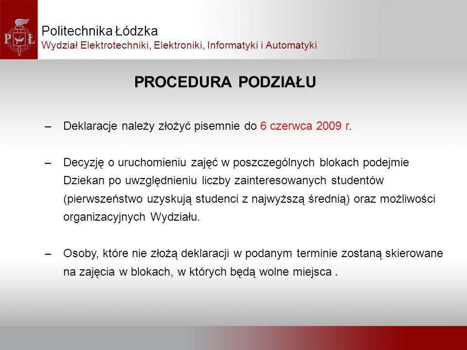 PROCEDURA PODZIAŁU Politechnika Łódzka Wydział Elektrotechniki, Elektroniki, Informatyki i Automatyki –Deklaracje należy złożyć pisemnie do 6 czerwca