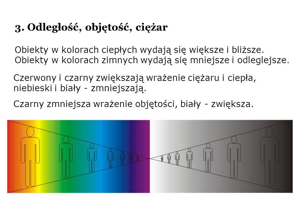 Obiekty w kolorach ciepłych wydają się większe i bliższe. Obiekty w kolorach zimnych wydają się mniejsze i odleglejsze. Czerwony i czarny zwiększają w