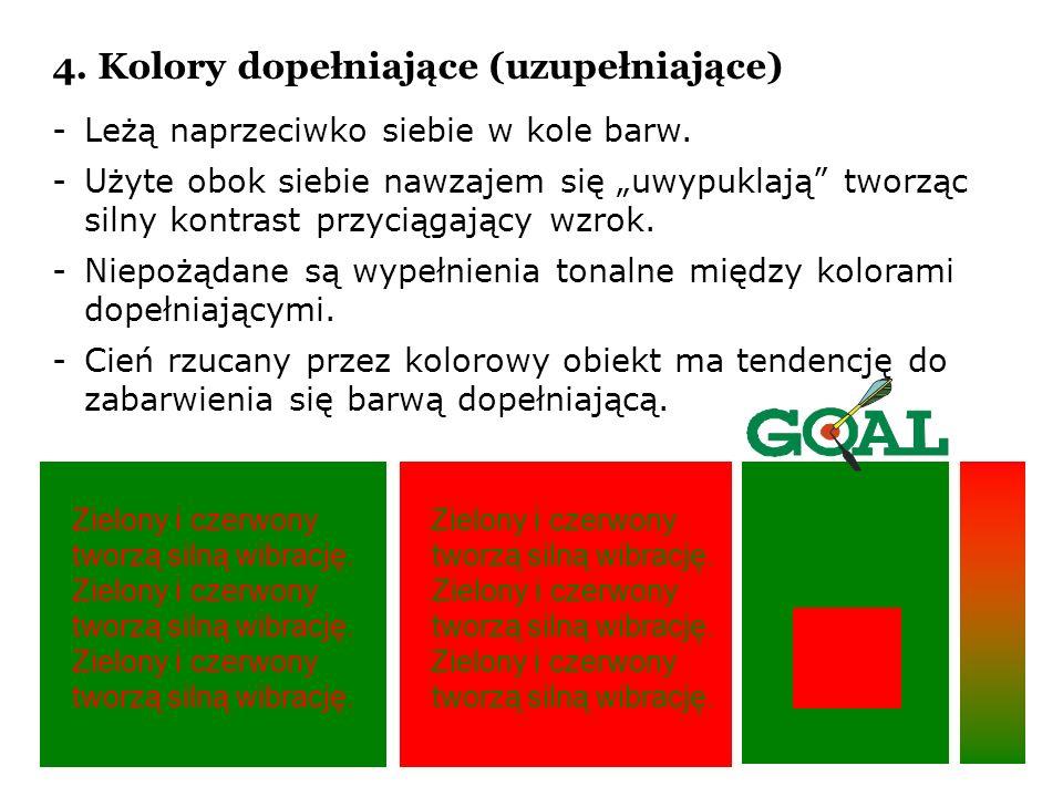 4. Kolory dopełniające (uzupełniające) -Leżą naprzeciwko siebie w kole barw. -Użyte obok siebie nawzajem się uwypuklają tworząc silny kontrast przycią