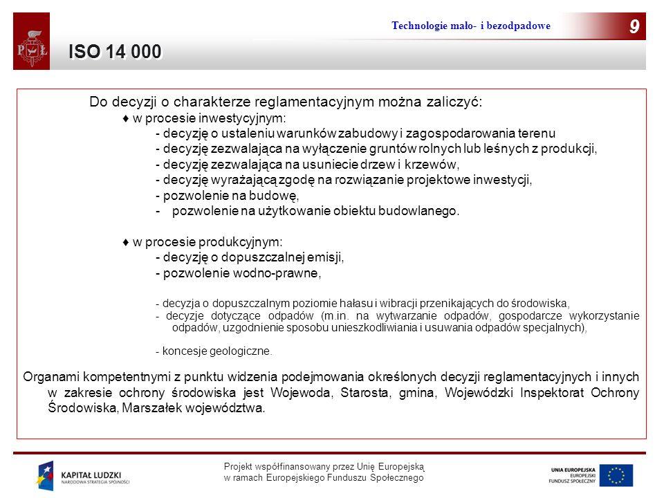 Projekt współfinansowany przez Unię Europejską w ramach Europejskiego Funduszu Społecznego Technologie mało- i bezodpadowe 9 Do decyzji o charakterze