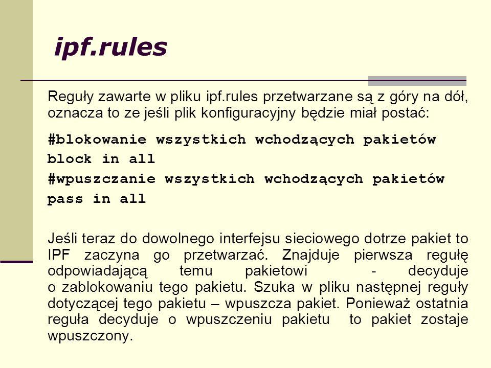 ipf.rules Reguły zawarte w pliku ipf.rules przetwarzane są z góry na dół, oznacza to ze jeśli plik konfiguracyjny będzie miał postać: #blokowanie wszy