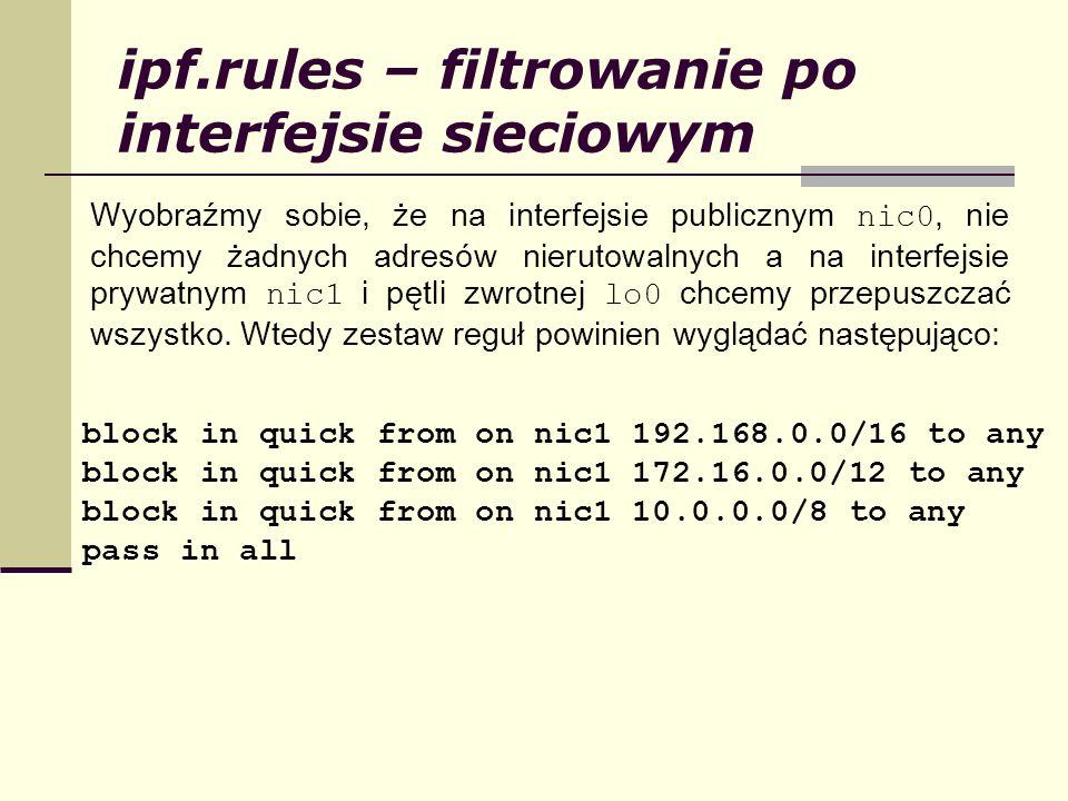 ipf.rules – filtrowanie po interfejsie sieciowym Wyobraźmy sobie, że na interfejsie publicznym nic0, nie chcemy żadnych adresów nierutowalnych a na in