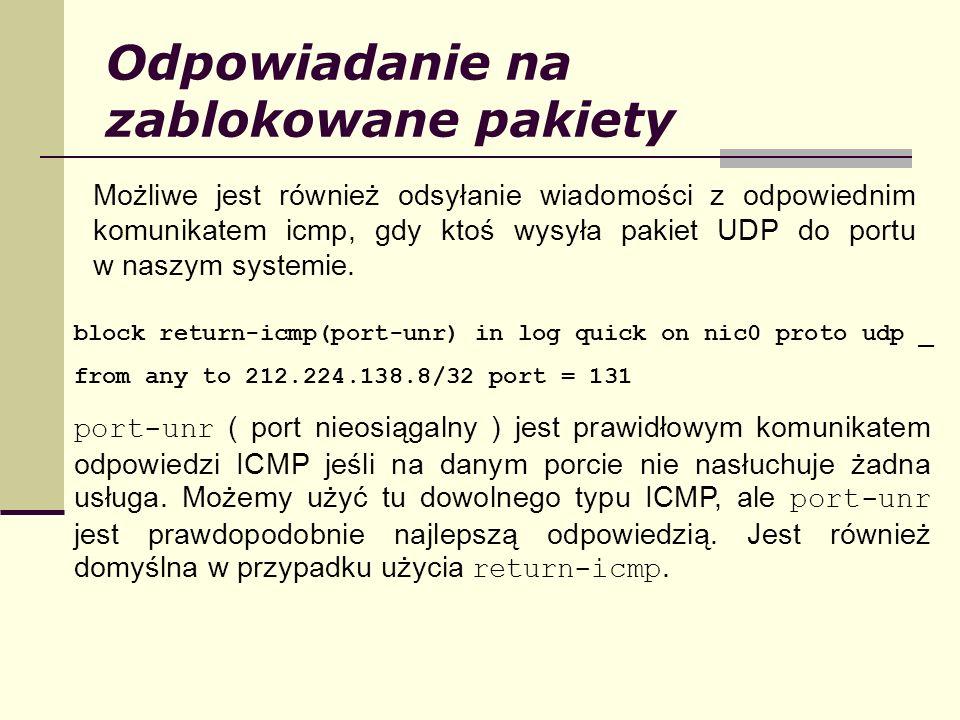 Odpowiadanie na zablokowane pakiety Możliwe jest również odsyłanie wiadomości z odpowiednim komunikatem icmp, gdy ktoś wysyła pakiet UDP do portu w na