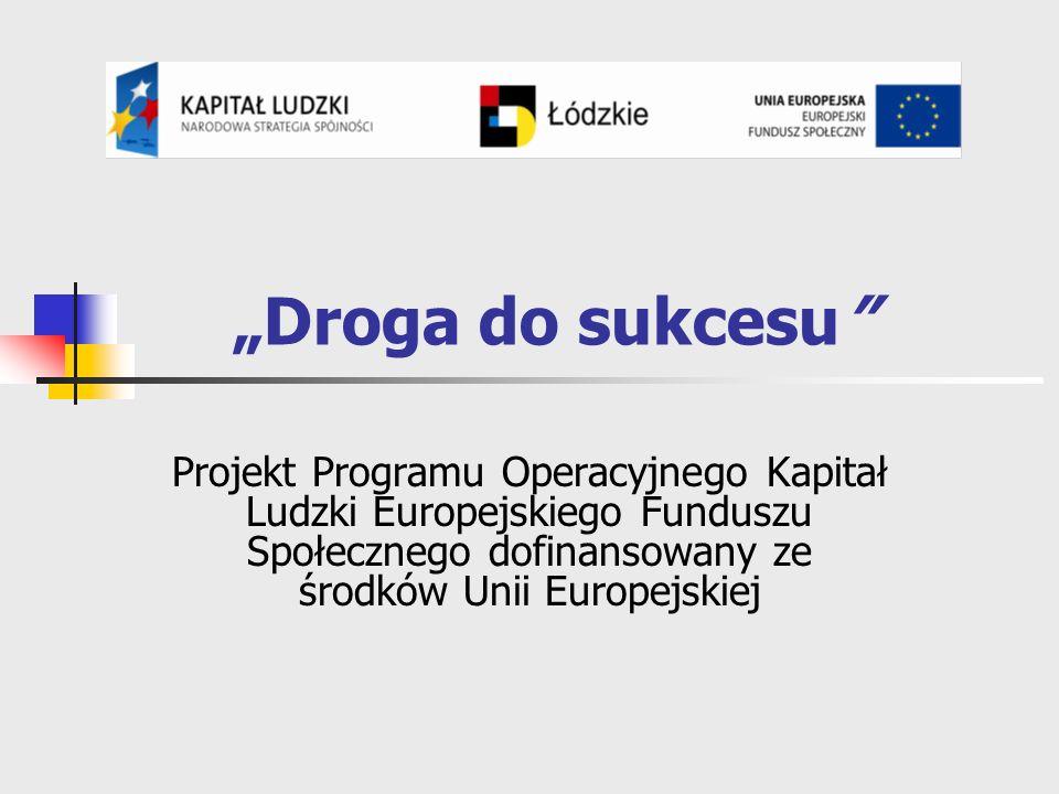 Droga do sukcesu Projekt Programu Operacyjnego Kapitał Ludzki Europejskiego Funduszu Społecznego dofinansowany ze środków Unii Europejskiej