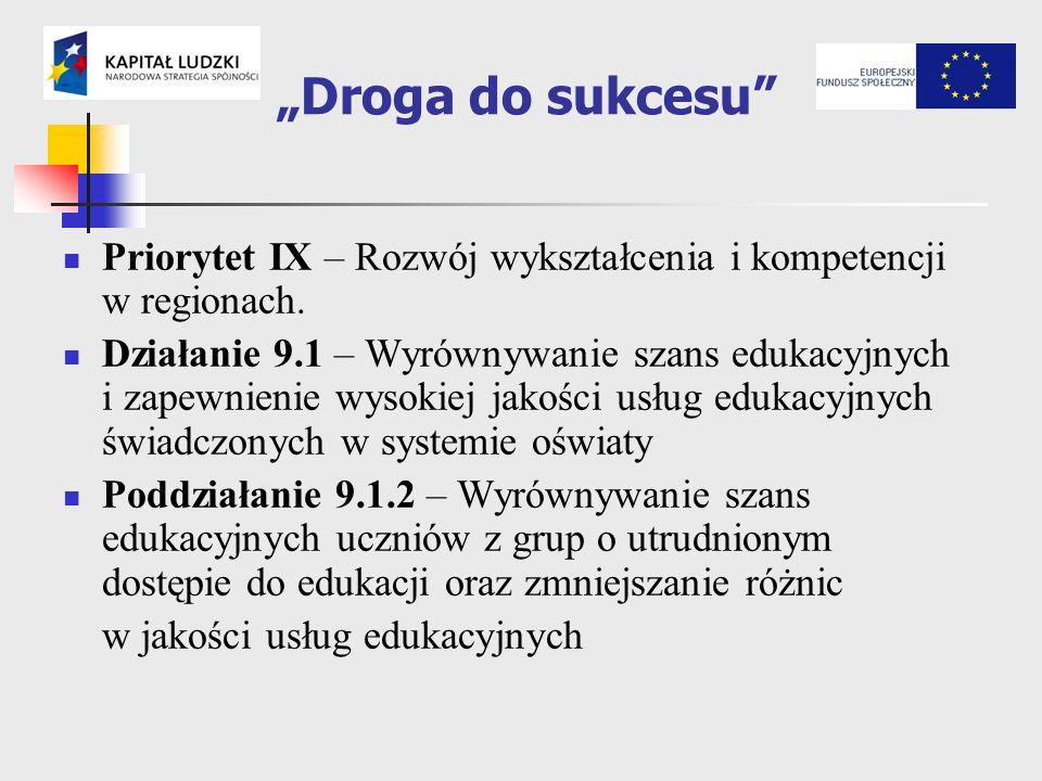 Droga do sukcesu Priorytet IX – Rozwój wykształcenia i kompetencji w regionach.