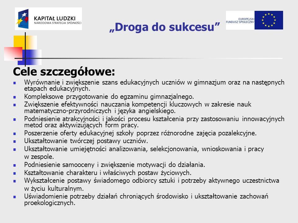 Droga do sukcesu Cele szczegółowe: Wyrównanie i zwiększenie szans edukacyjnych uczniów w gimnazjum oraz na następnych etapach edukacyjnych.