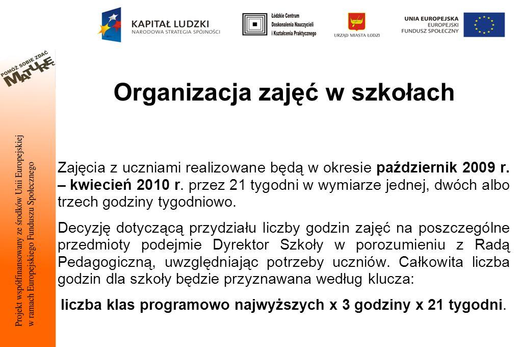 Organizacja zajęć w szkołach Zajęcia z uczniami realizowane będą w okresie październik 2009 r.